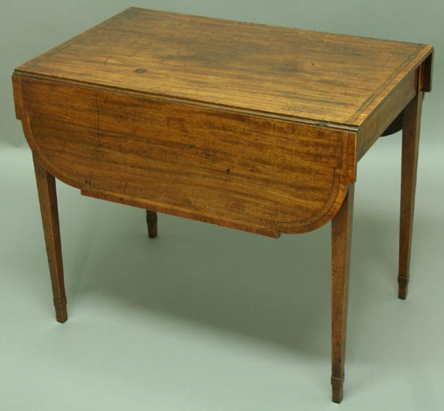 A GEORGE III MAHOGANY AND INLAID PEMBROKE TABLE