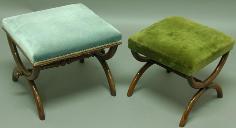 TWO ROSEWOOD 'X' FRAME STOOLS