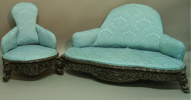 AN ANGLO-INDIAN THREE PIECE SALON SUITE