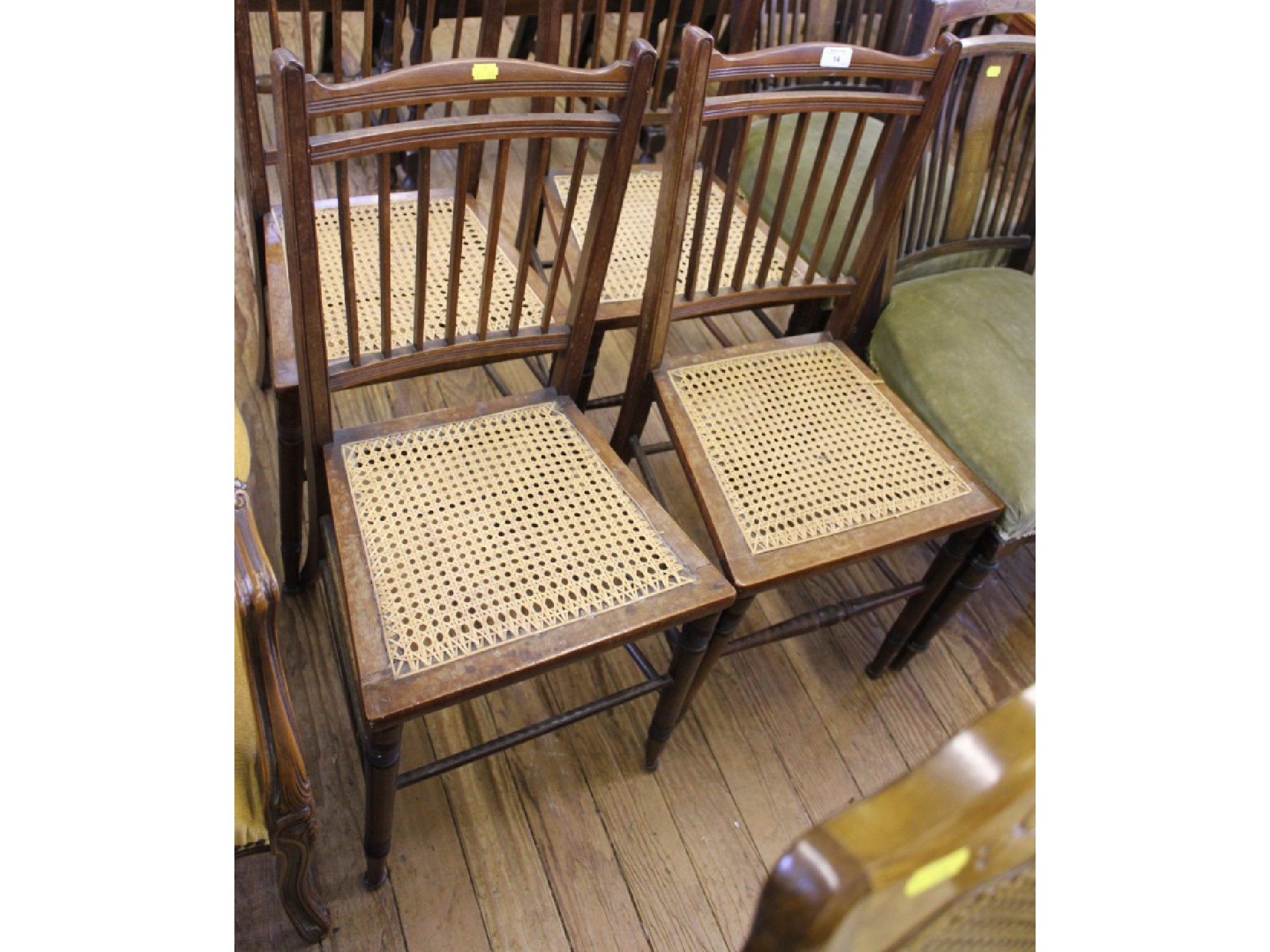 Four 1920's bedroom chairs with cane seats