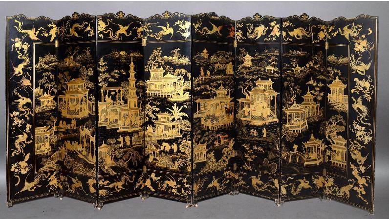 A CHINESE BLACK LACQUERED AND GILT EIGHT-FOLD SCREEN