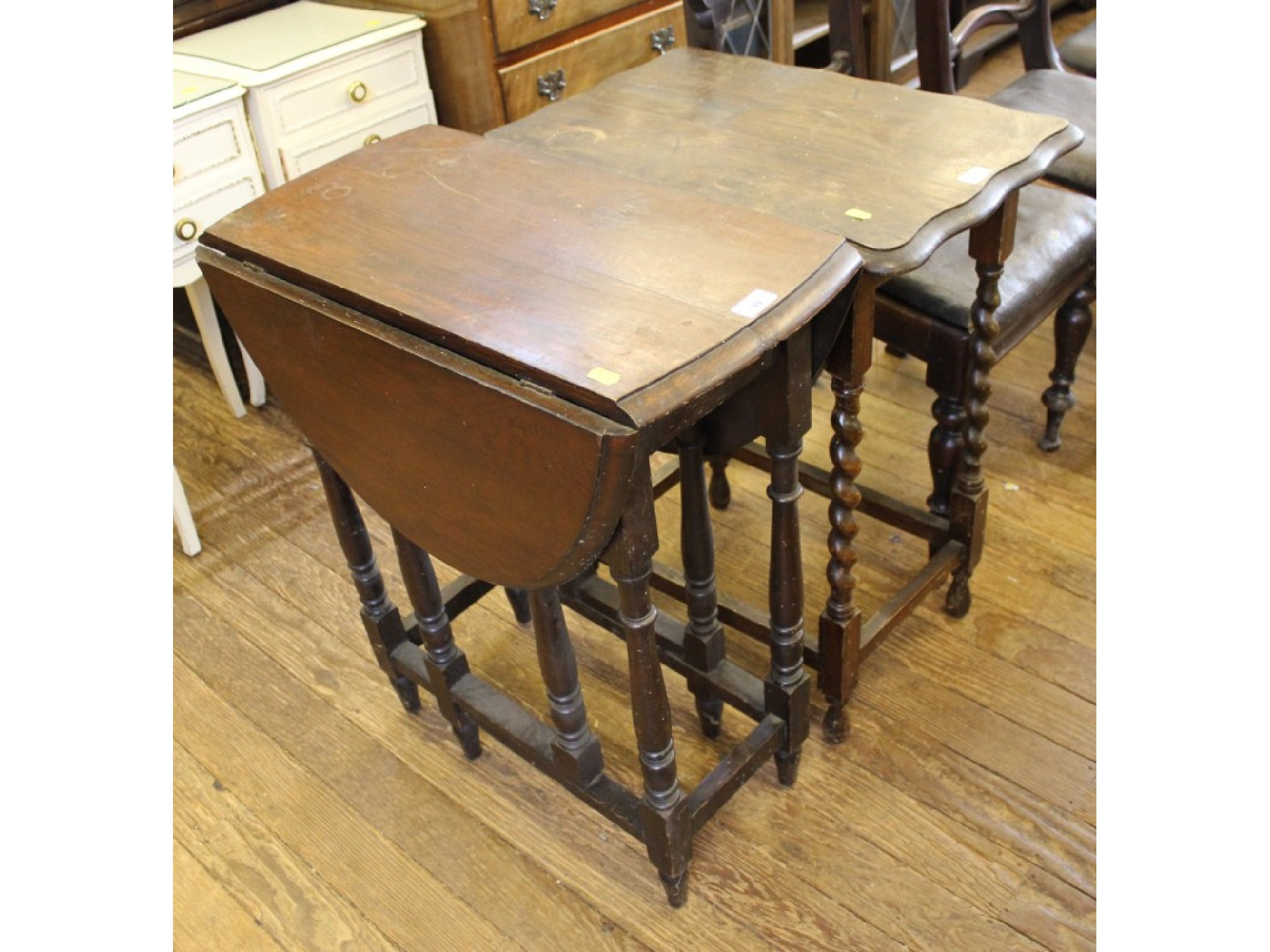 An oak occasional table with barley twist legs, and a small oak gateleg table (2)