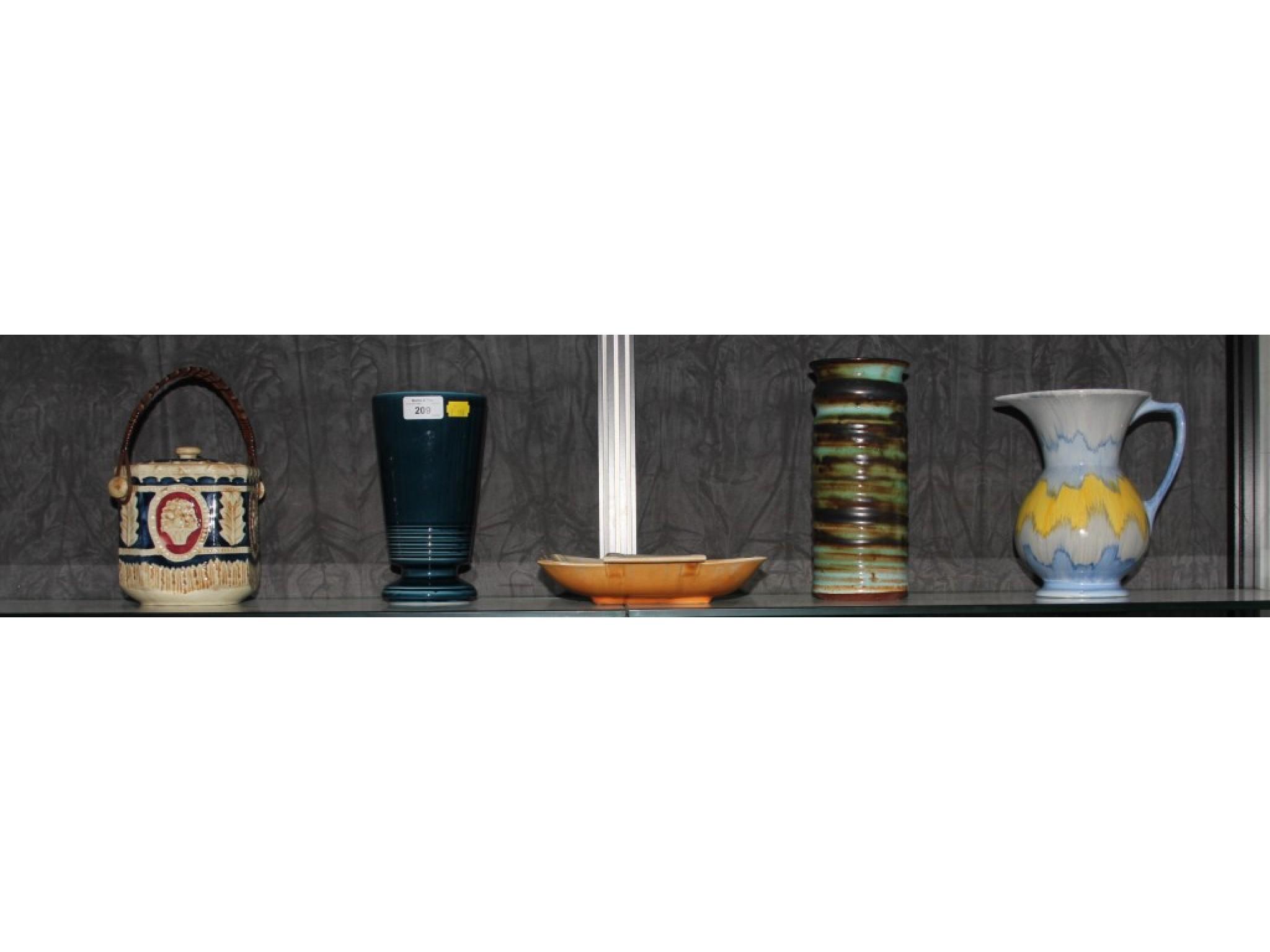 A Shorter square dish, stamped 359, a Printnash blue glazed vase, a Llangollen ware vase, a biscuit barrel and jug