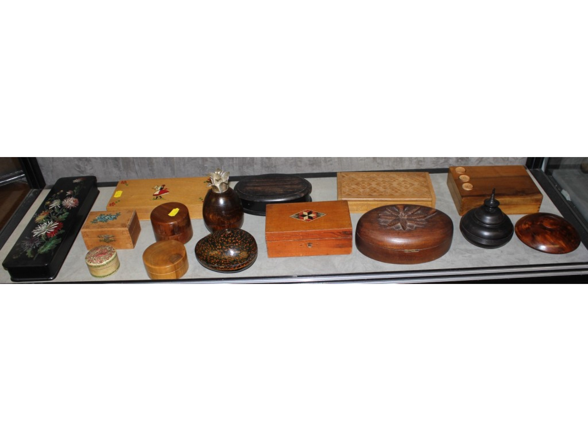 A collection of fifteen various boxes, including a papier mache glove box and ebony turned box