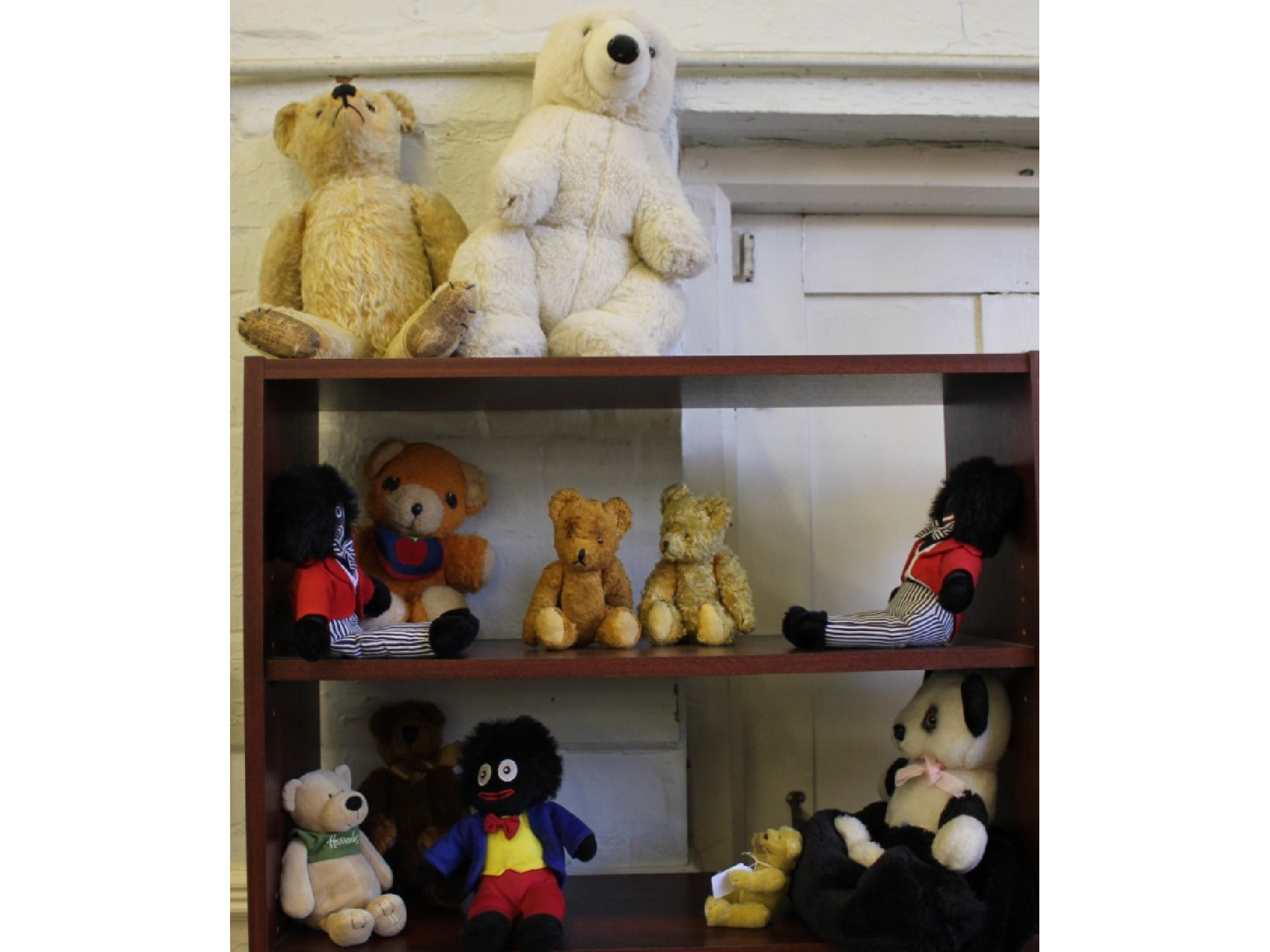 Twelve soft toy animals, including plush 1950's teddy, 45cm, two small teddy bears, each 22cm, Fisher-Price teddy and others, in