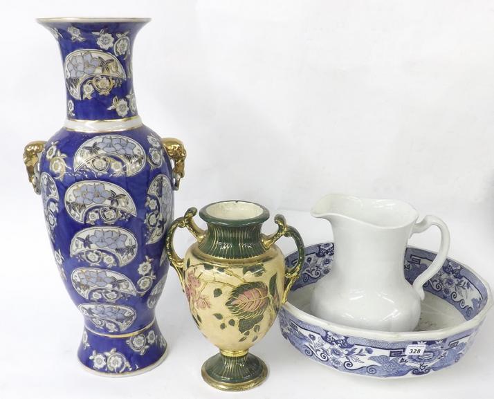 Mixed lot of porcelain to include large Masons ironstone punch/wash bowl, Chinese baluster twin handled vase, Art Nouveau type v