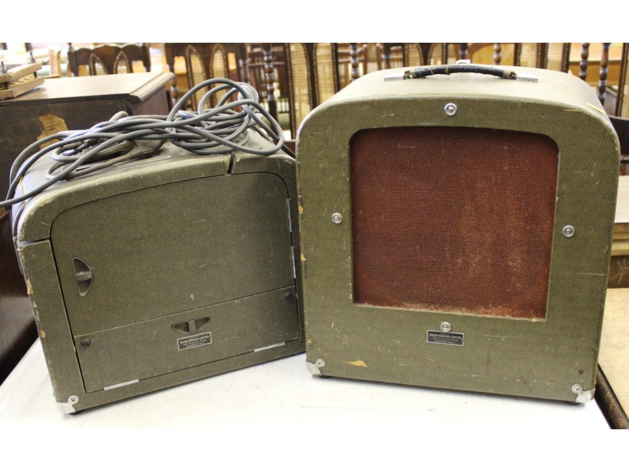 A 16mm film projector and speaker, supplied by Sound-Service Ltd, model 621