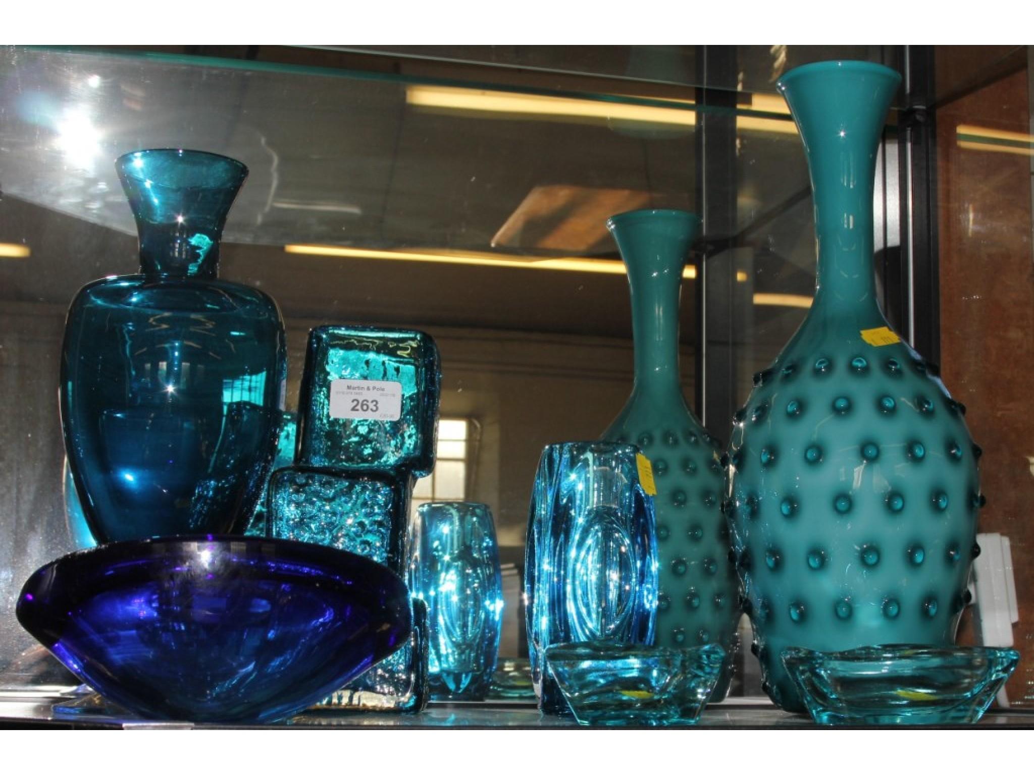 Seven pieces of 1970's Blue glassware
