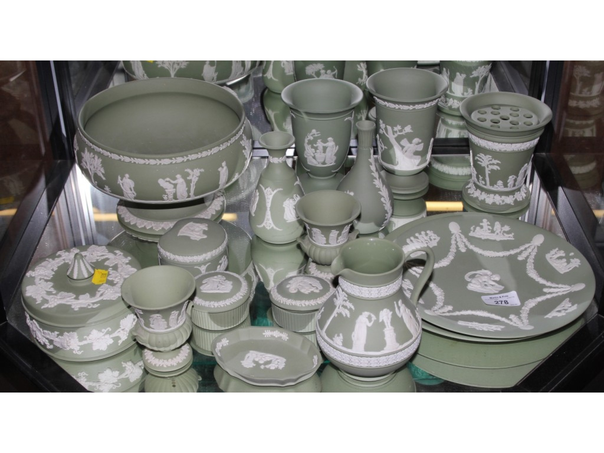 A collection of green Wedgwood Jasperwares