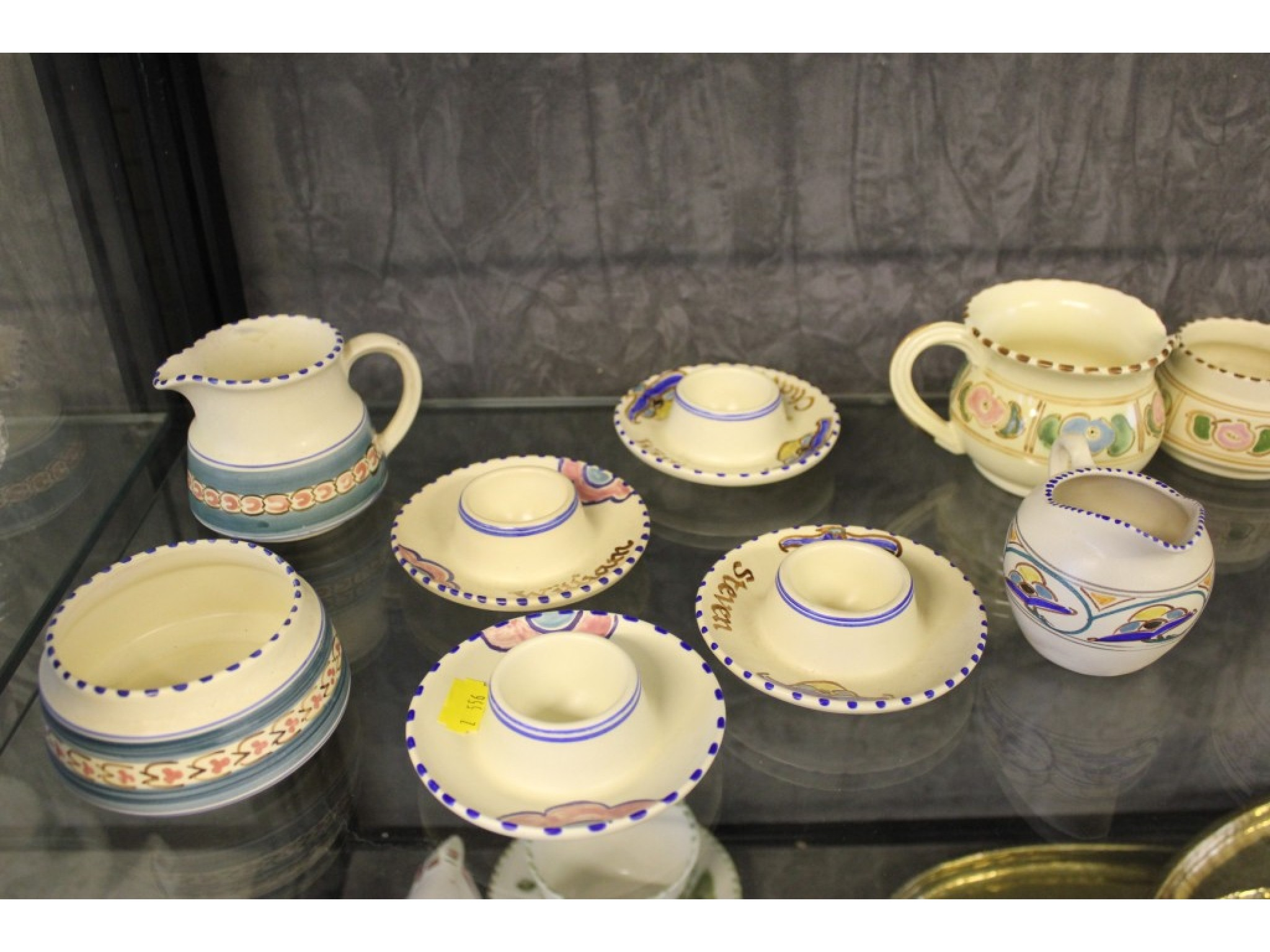 Poole Pottery trinket dish and twelve pieces of Honiton wares