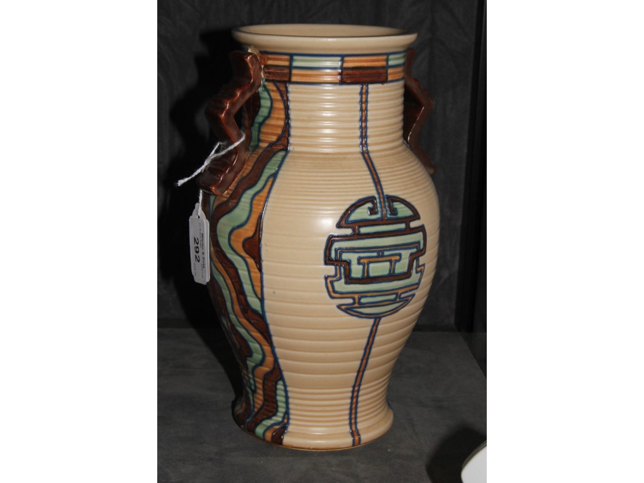 A Royal Cauldon vase of Aztec design