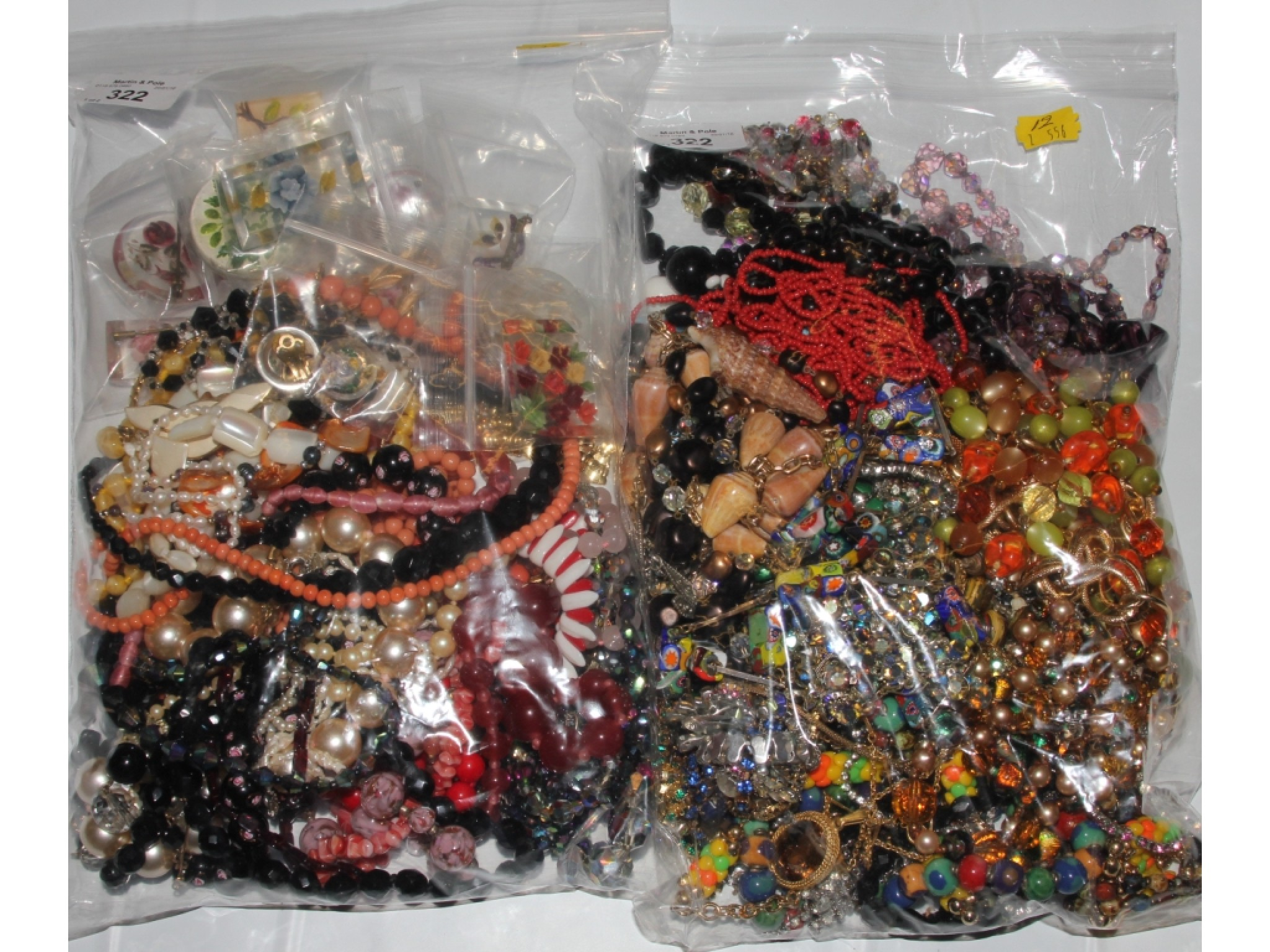 Two bags of costume jewellery
