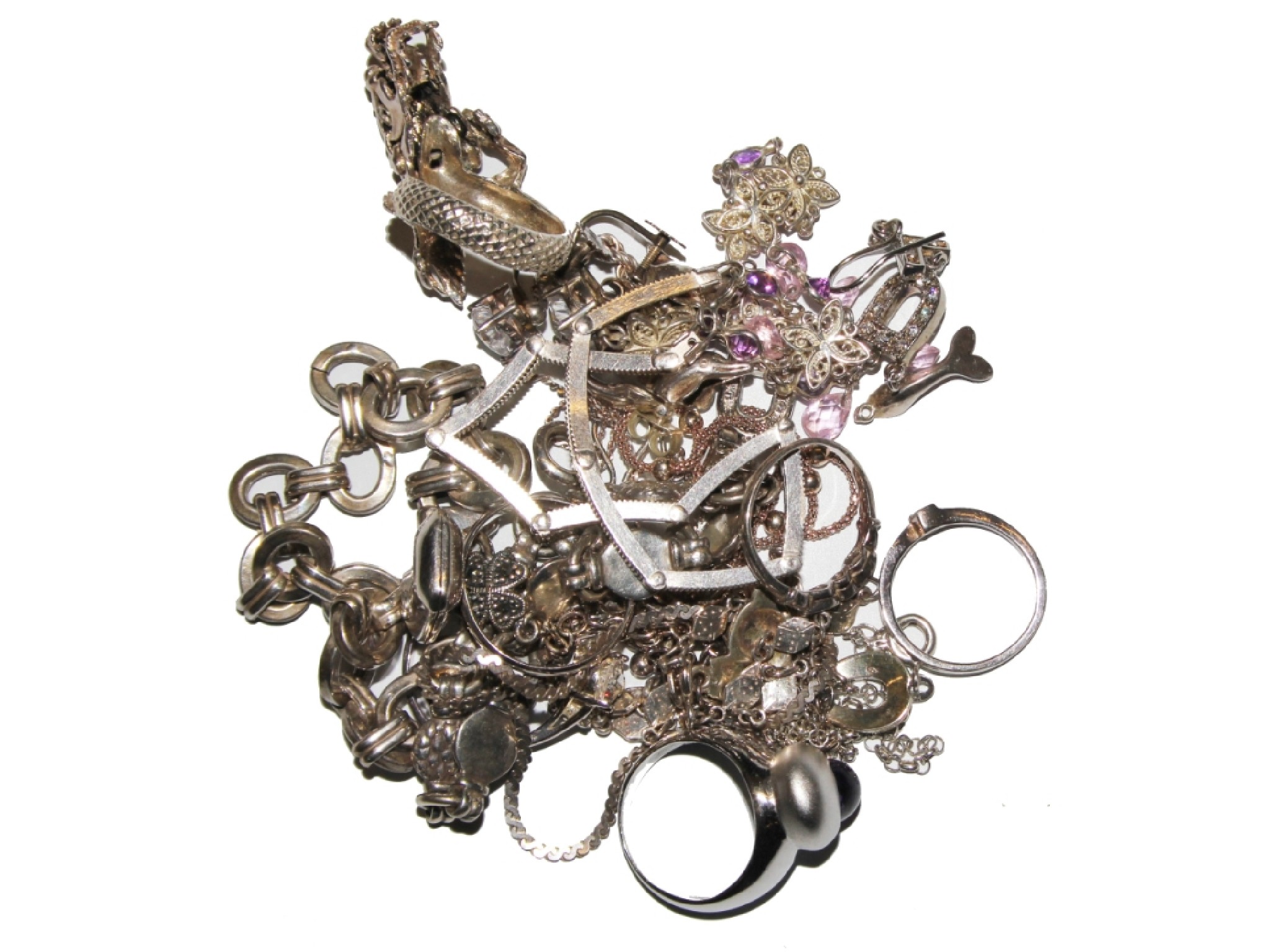 A collection of mixed fashion jewellery, some silver