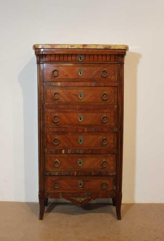 Semainier style Louis XVI en placage de bois de rose et de bois de violette