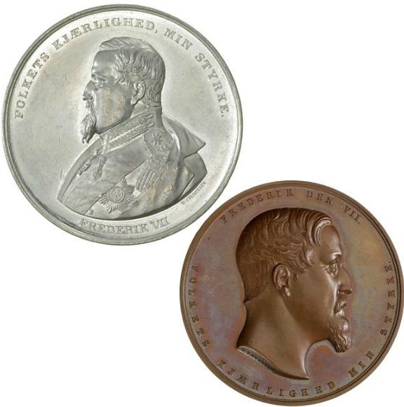 Frederik VII, two medals on the 1849 constitution