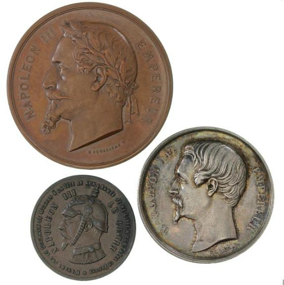 France, Napoleon III, 2 medals, Exposition Universelle 1867