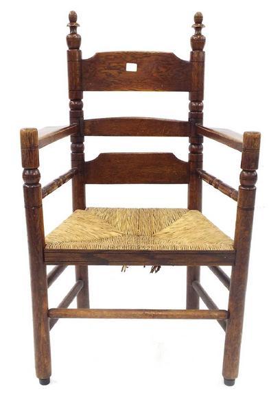Antique oak rush seat ladder back carver chair