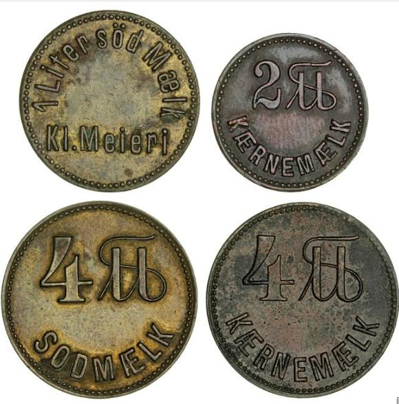 Dairy tokens, Kliplev and Lysabild Dairies, in total 4 pcs for different kinds of milk, Sømod 6545, 6548, 6550-6551