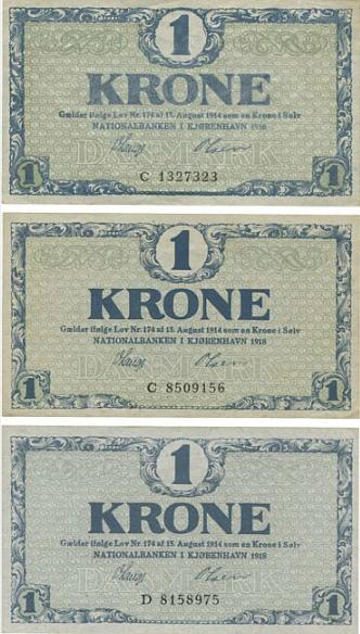 1 kr 1914 - 1921, impressive, complete collection litra numbers