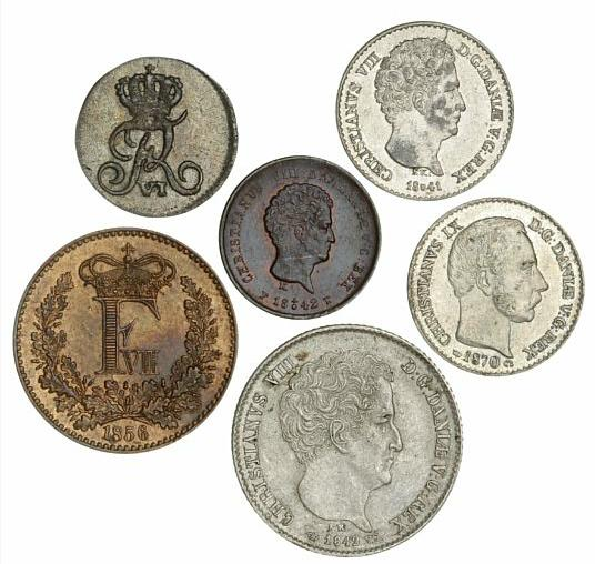 Frederik VI - Christian IX, collection of six skilling coins, all in excellent conditions