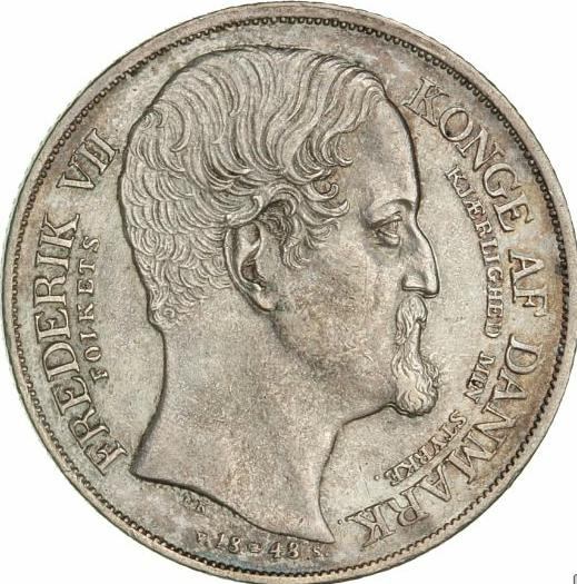 Frederik VII, speciedaler 1848 VS (succession of throne), H 3, KM 742 - nicely toned