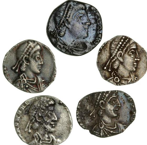 Roman Empire, 5 Siliqua, from, among others Valens and Honorius - interesting lot of five late and uncommon silver coins