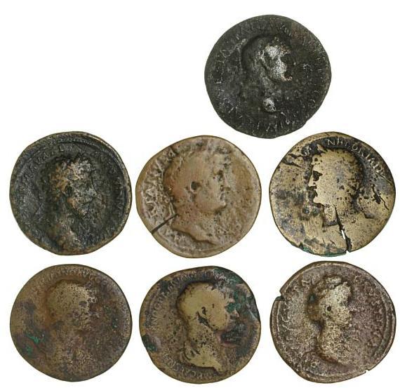 Roman Empire, 7 Sestertii, Vespasian, Trajan, Hadrian, Faustina I and Marcus Aurelius