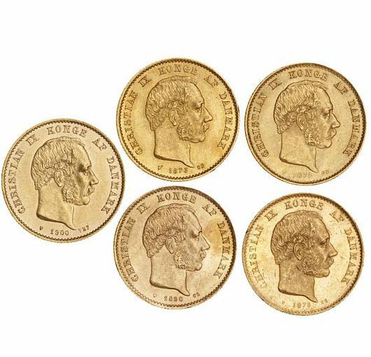 20 kr 1873, 1876, 1877, 1890, 1900, H 8A-B, F 295, in total 5 pcs