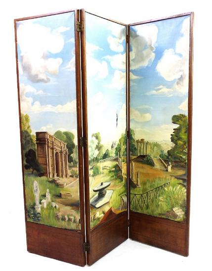 19th century mahogany three-fold screen fitted with three large oil paintings