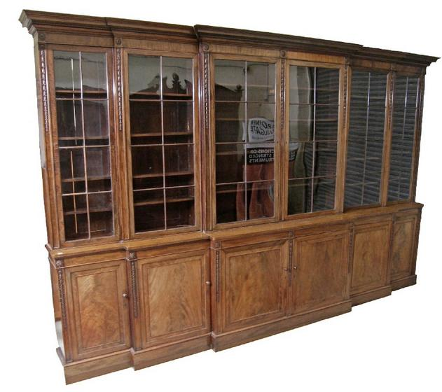 Impressive and extremely large mahogany library breakfront bookcase