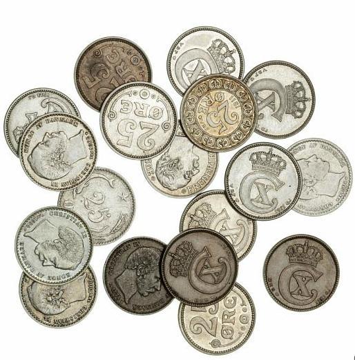 25 øre 1874, 1891, 1894, 1900, 1904, 1905, H 15A, B