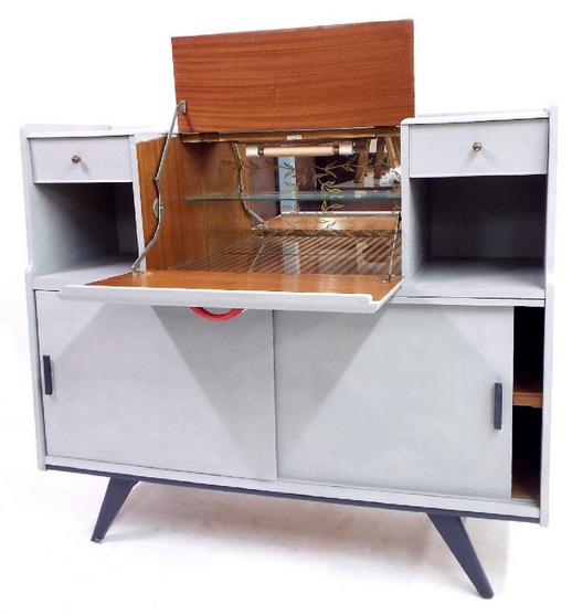1950s grey painted cocktail cabinet
