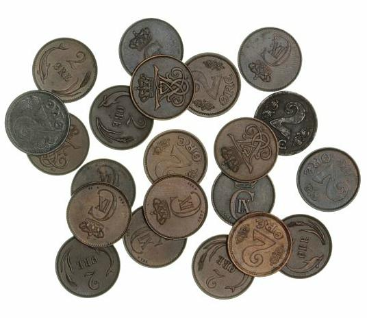 2 øre 1874 - 1923, in total 21 pcs in varying condition