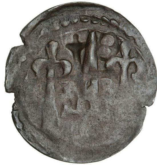Christopher I, 1252 - 1259, Penny, Roskilde, bishop Peder Bang, 1254 - 1277, MB 81, 0.51 g, cracks in flan, ex. Hauberg, ex. Hed