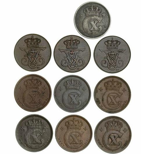 5 øre 1907, 1908, 1912, H 6, Christian X