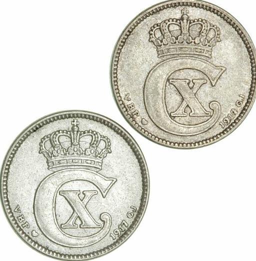 25 øre 1914, 1917, H 10A