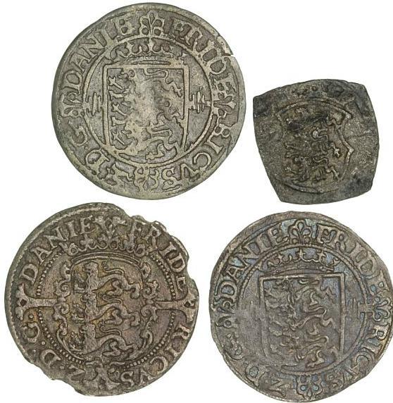 Frederik II, 8 skilling 1583, H 26, chipped; 2 skilling 1562, 1563, H 11; 2 skilling klippe 1564, H 16. (4)