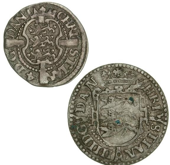 Christian IV, skilling 1615, H 80D (Fine), 2 skilling 1605, H 79A (aVF), in total 2 pcs.
