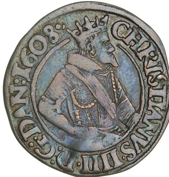 Christian IV, 8 skilling 1608, H 96, nice patination