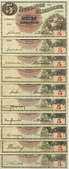 Sweden, 100 kr, 1950-1963, 6 pcs