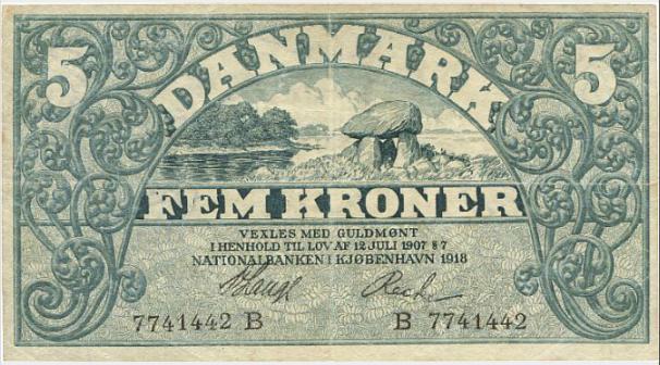 5 kr 1918 B, Lange / Recke, nr. 7741442, Sieg 100, Pick 20