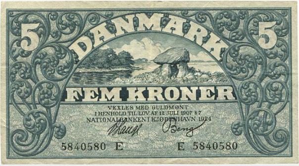 5 kr 1924 E, Lange / Bang, nr. 5840580, Sieg 100, Pick 20