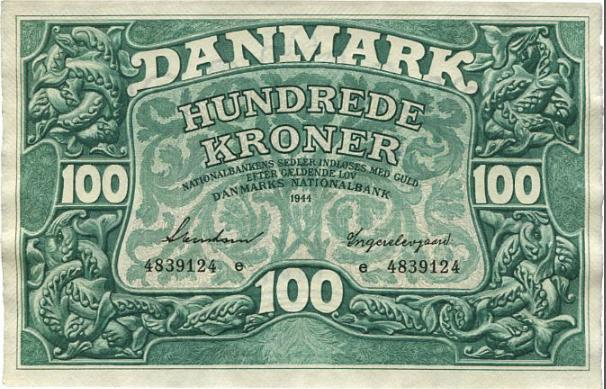 100 kr 1944 e, Svendsen / Ingerslevgaard, Sieg 125, Pick 39a, cond. Unc.
