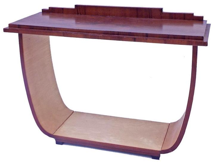 Art Deco walnut and satin console table
