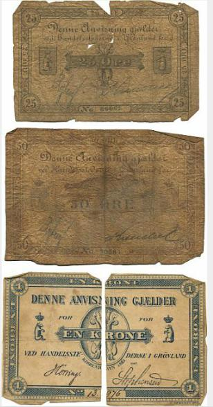 Greenland, 25 øre 1892, No. 86661, Ryberg / Krenchel, Sieg 46, Pick 2b, 50 øre 1888, No. 30584, Ryberg / Krenchel