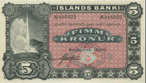 Iceland, Islands Banki, 5 kr 1920, only one signature, Sieg 19, Pick 15