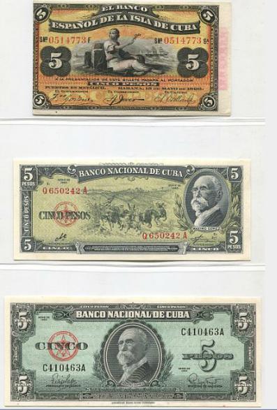 Cuba,collection of 13 uncirculated notes incl, 5 Pesos 1896, Pick 48b; 5 Pesos 1960, Pick 91c, 92a.
