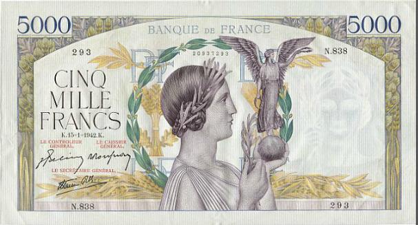 France, 5000 Francs 1942, Pick 97c - pinhole, otherwise a nice banknote