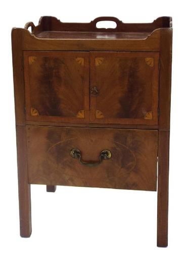 Georgian flame mahogany and boxwood inlaid tray top commode/pot cupboard,