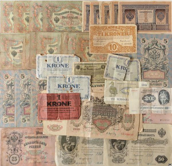 Russia, 138 banknotes, incl. 1, 3, 5, 10, 25, 50 and 100 roubles, and 8 danish banknotes